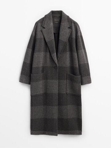 Grey wool check coat