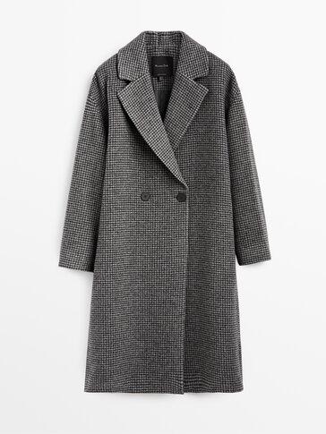 Дълго вълнено палто на каре Виши