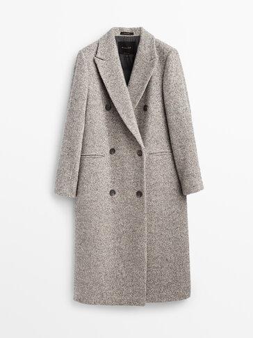 Manteau long gris en laine motif chevrons