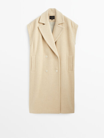 Ecru long wool waistcoat