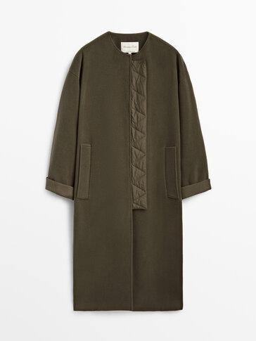 Khaki long wool coat