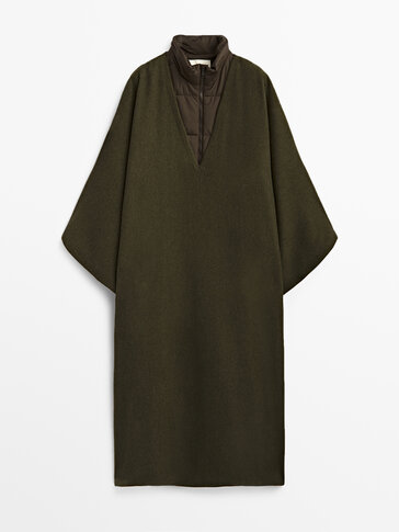 Wool cape with detachable inner waistcoat