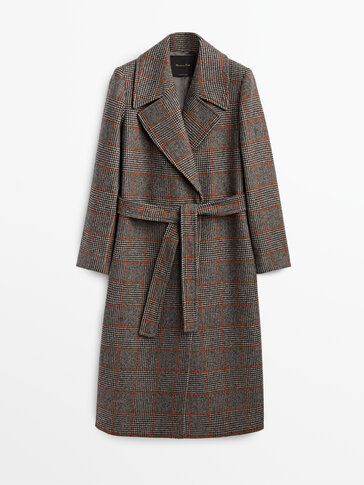 Wool coat with orange check detail