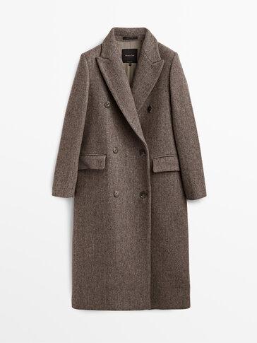 Long taupe brown wool coat