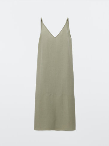 Long strappy lyocell and linen dress