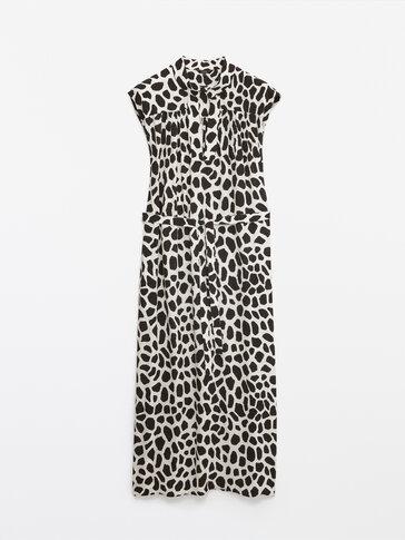 Long giraffe print dress