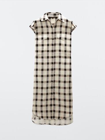 Long check cotton and linen dress