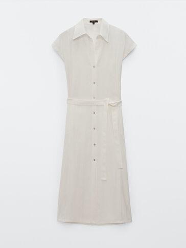 Дълга рокля тип риза с къс ръкав