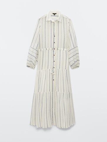 Cotton long striped dress