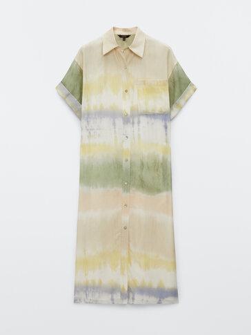 Silk cotton tie-dye dress