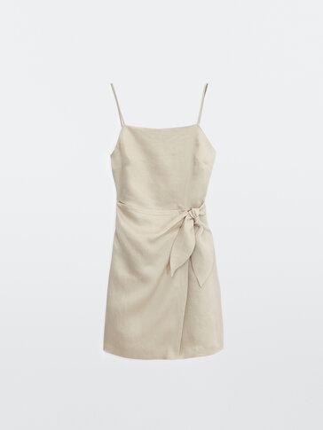 100% linen short dress
