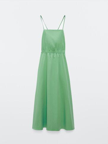 Long poplin dress with straps