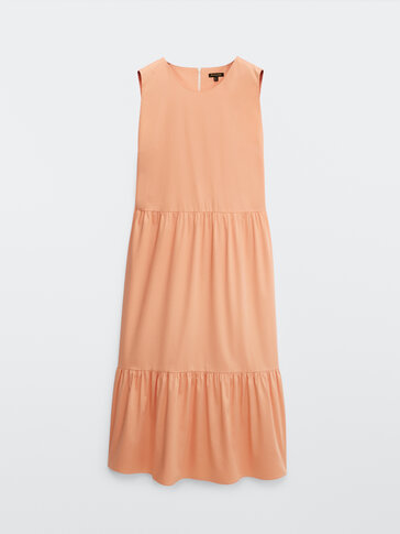 Poplin dress with side slits