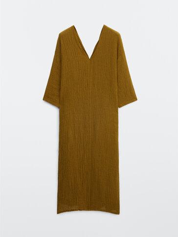 Vestido escote pico lino