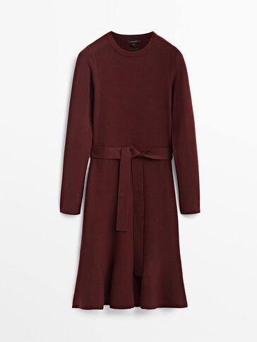 Short belted peplum dress