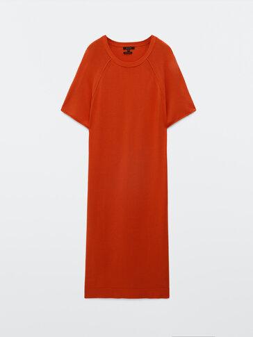 Robe à manches courtes détail coutures