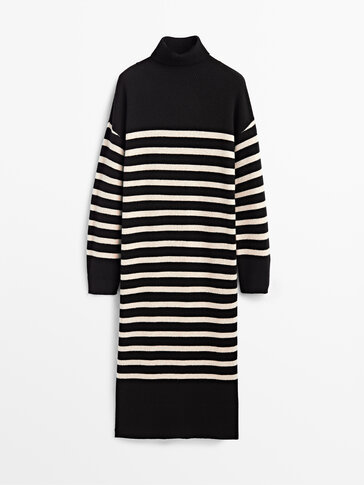 Cashmere wool knit dress with a high neck