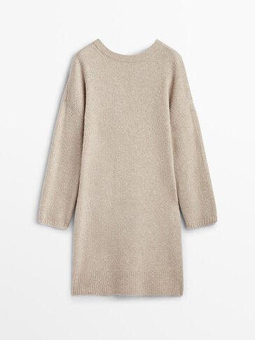Purl knit dress with bow