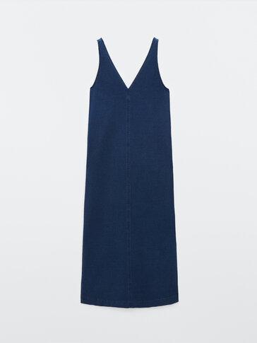 Long denim dress with straps