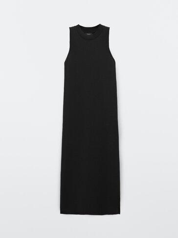 Vestido comprido com gola halter preto