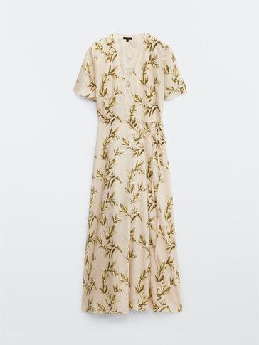 Long linen cotton leaf print dress