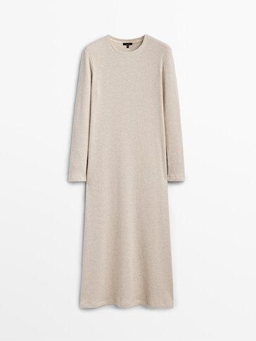 Vestido comprido canelado algodão
