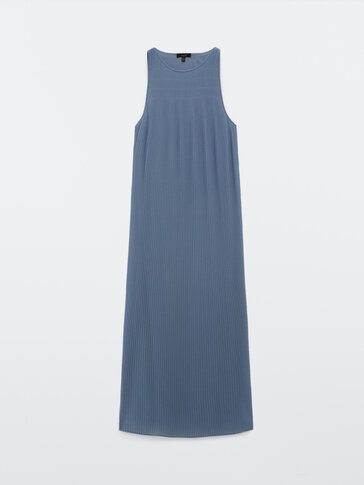 Pleated long dress with straps