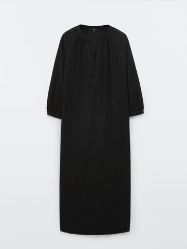 Black cotton dress with embroidery