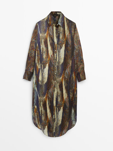Oversize 100% silk paisley blouse dress