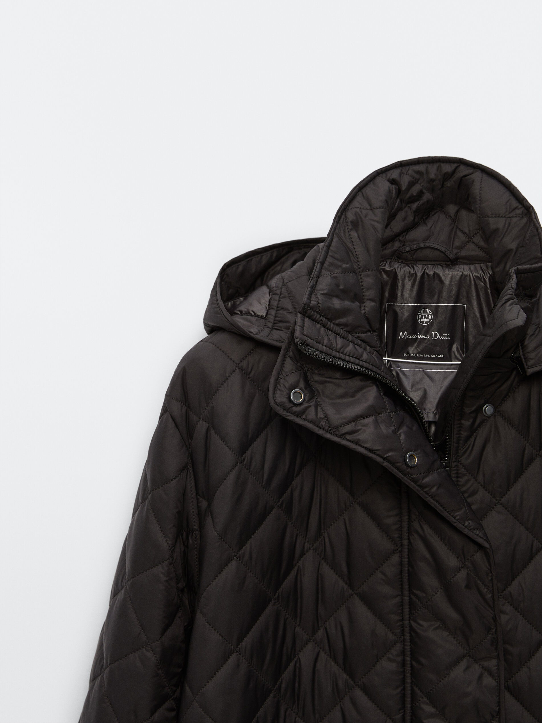 Long puffer coat BLACK