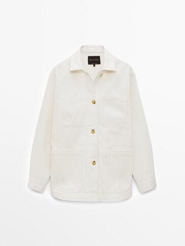 Cotton denim overshirt with pockets