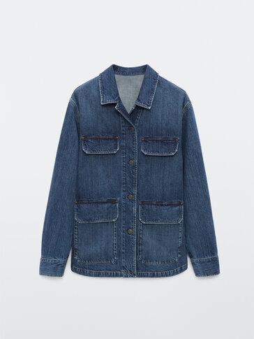 Džins jakna z žepi