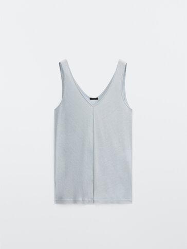 라이오셀-린넨 브이넥 티셔츠