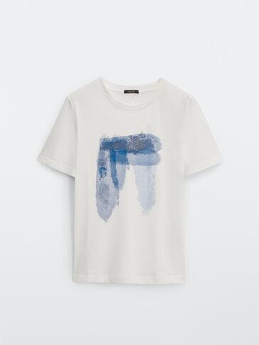 T-shirt met waterverfprint