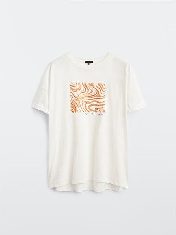 T-shirt de manga curta com pinceladas