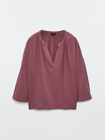 Хлопковая блуза свободного кроя со сборками