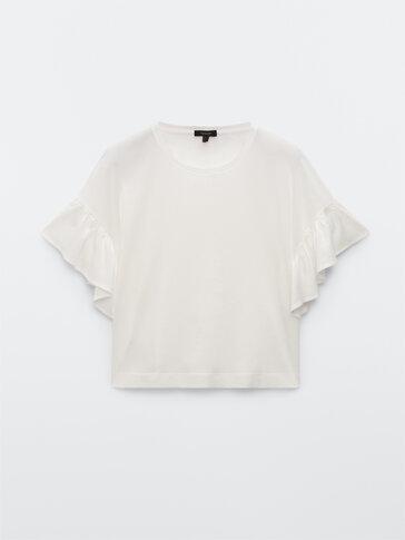 Хлопковая футболка с воланами