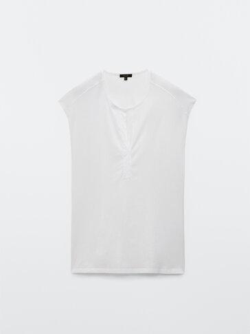 T-shirt sem mangas algodão