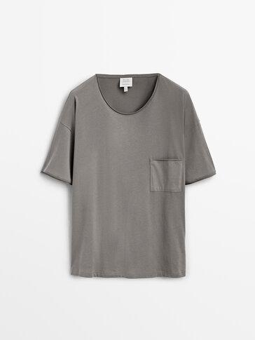 T-shirt de manga curta de pijama em algodão