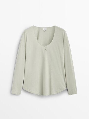 Long sleeve cotton pyjama top