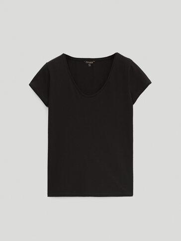 플레인 코튼 티셔츠