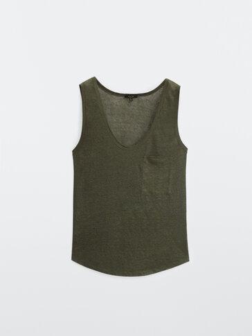 100% linnen T-shirt met bandjes