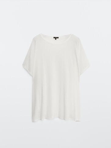 Linnen en lyocell T-shirt met korte mouw