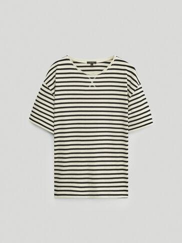 Camiseta rayas manga corta algodón