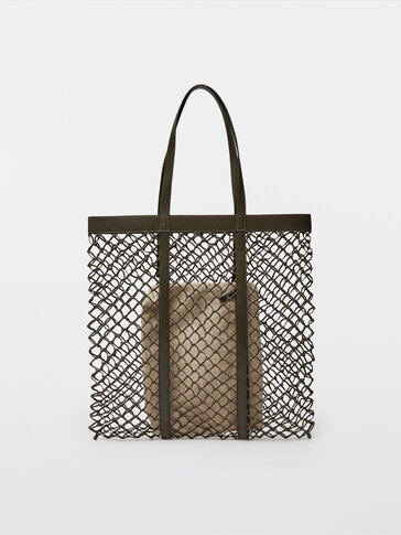 Braided leather tote bag + linen pouch bag