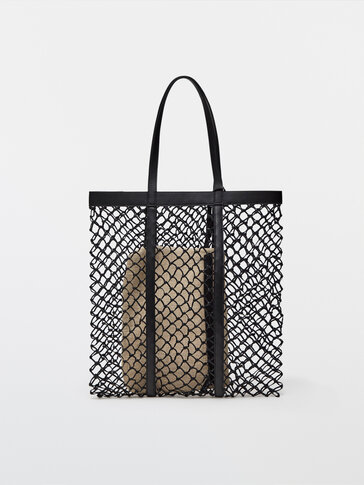 Плетеная кожаная сумка-шопер+ небольшая льняная сумка