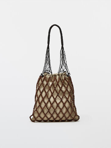 Wood and leather net bag + linen pouch bag