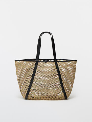 Mesh tote bag with leather details