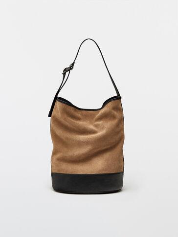 Split suede and nappa bucket bag
