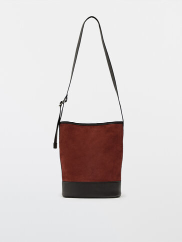 Split suede and nappa leather bucket bag